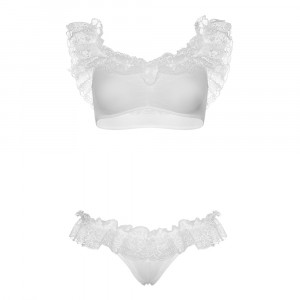 Leg Avenue Lace Ruffle Crop Top and Panty UK 8 to 14