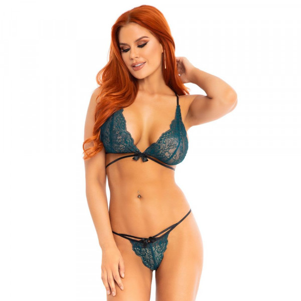 Leg Avenue Teal Lace Bralette And Matching String Panty