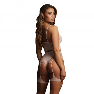 Le Desir Bliss 2 Piece Set With Garters Pink UK 6 to 14